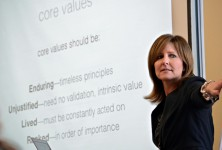 Lynne Biddinger explains the importance of clearly stated core values during the March 31 Insight Studio event.