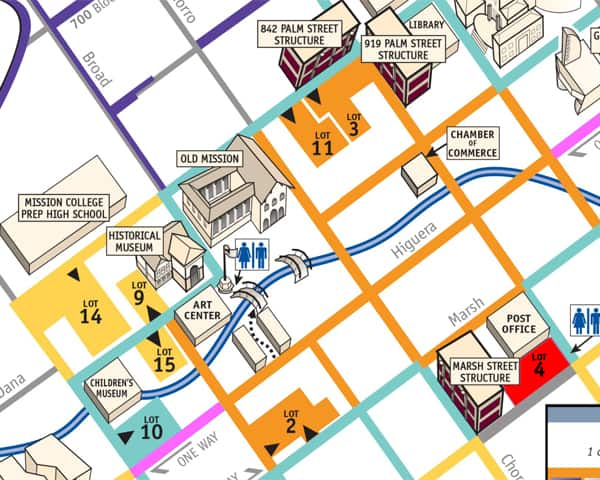downtown park map | San Luis Obispo Chamber of Commerce on map of rumbek, map of wu, map of siu, map of chicago,