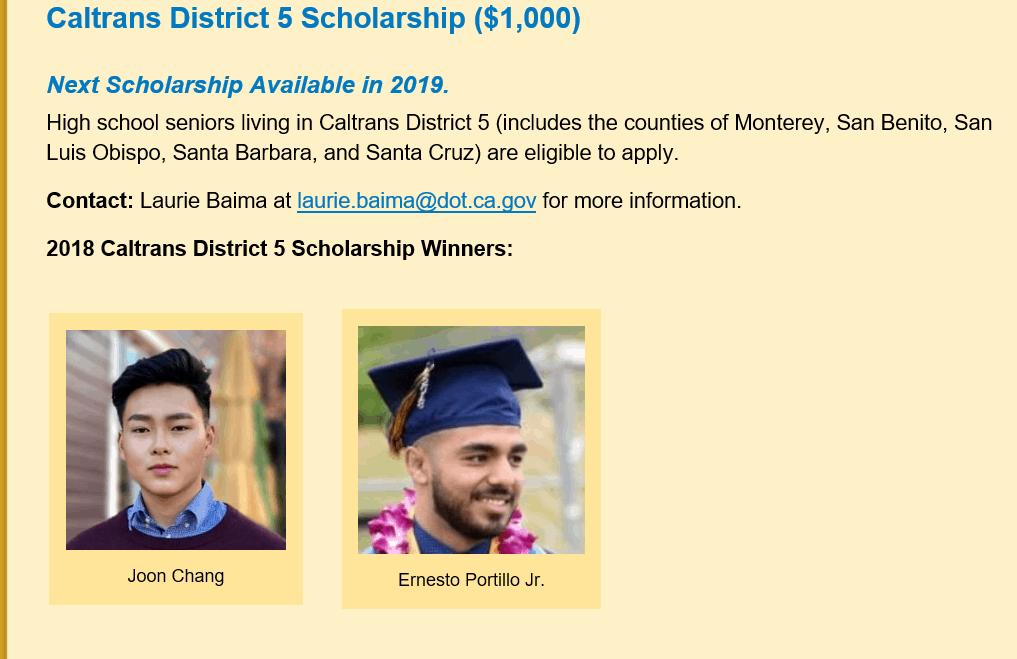 cal trans scholarship winners